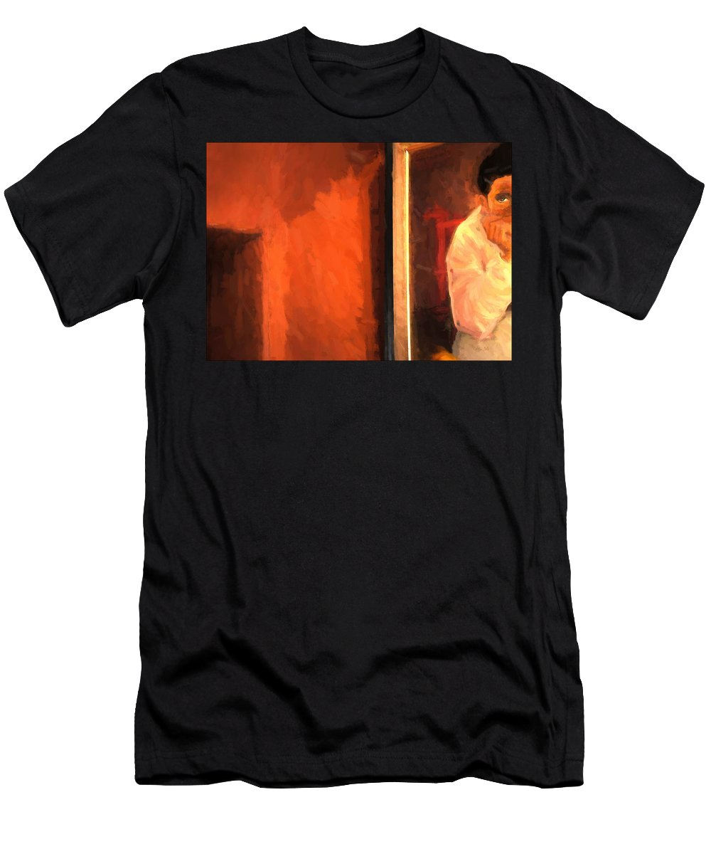 Painting And Stucco Wall Men's T-Shirt (Athletic Fit) featuring the painting Part Of Painting And Wall by Marty Malliton