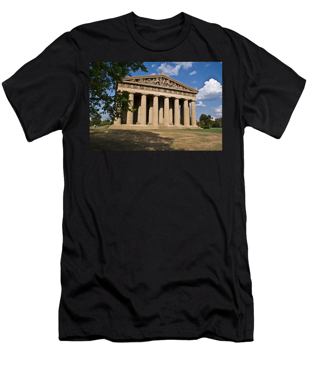 Parthenon Men's T-Shirt (Athletic Fit) featuring the photograph Parthenon Nashville Tennessee by Douglas Barnett