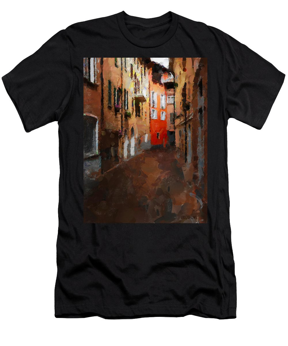 Travel Men's T-Shirt (Athletic Fit) featuring the painting Parting by Greg Collins