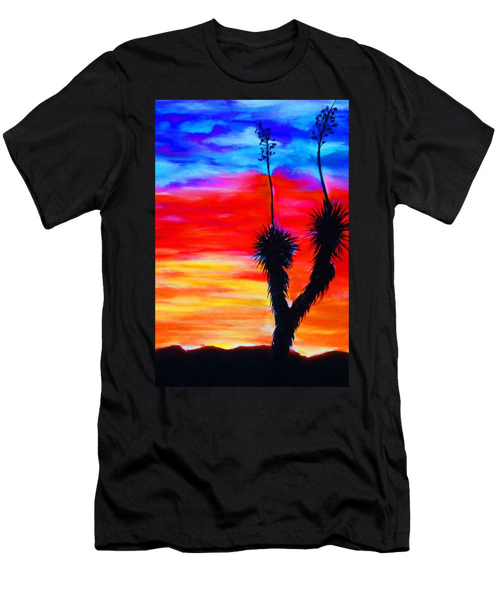 Sunset Men's T-Shirt (Athletic Fit) featuring the painting Paso Del Norte Sunset 1 by Melinda Etzold