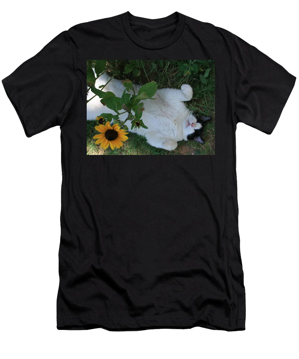 Daisies Men's T-Shirt (Athletic Fit) featuring the photograph Passed Out Under The Daisies by Marna Edwards Flavell