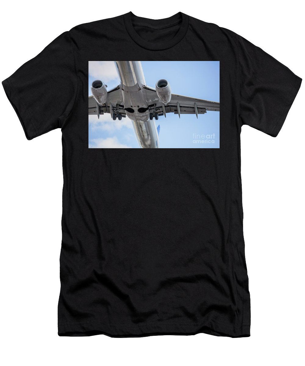 Commercial Men's T-Shirt (Athletic Fit) featuring the photograph Passenger Jet Coming In For Landing 7 by PhotoStock-Israel