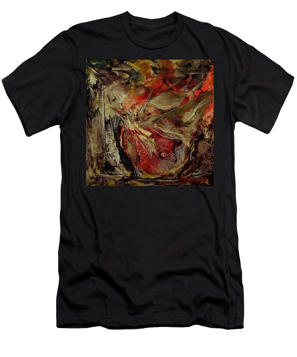 Abstract Men's T-Shirt (Athletic Fit) featuring the painting Passion  by Rome Matikonyte