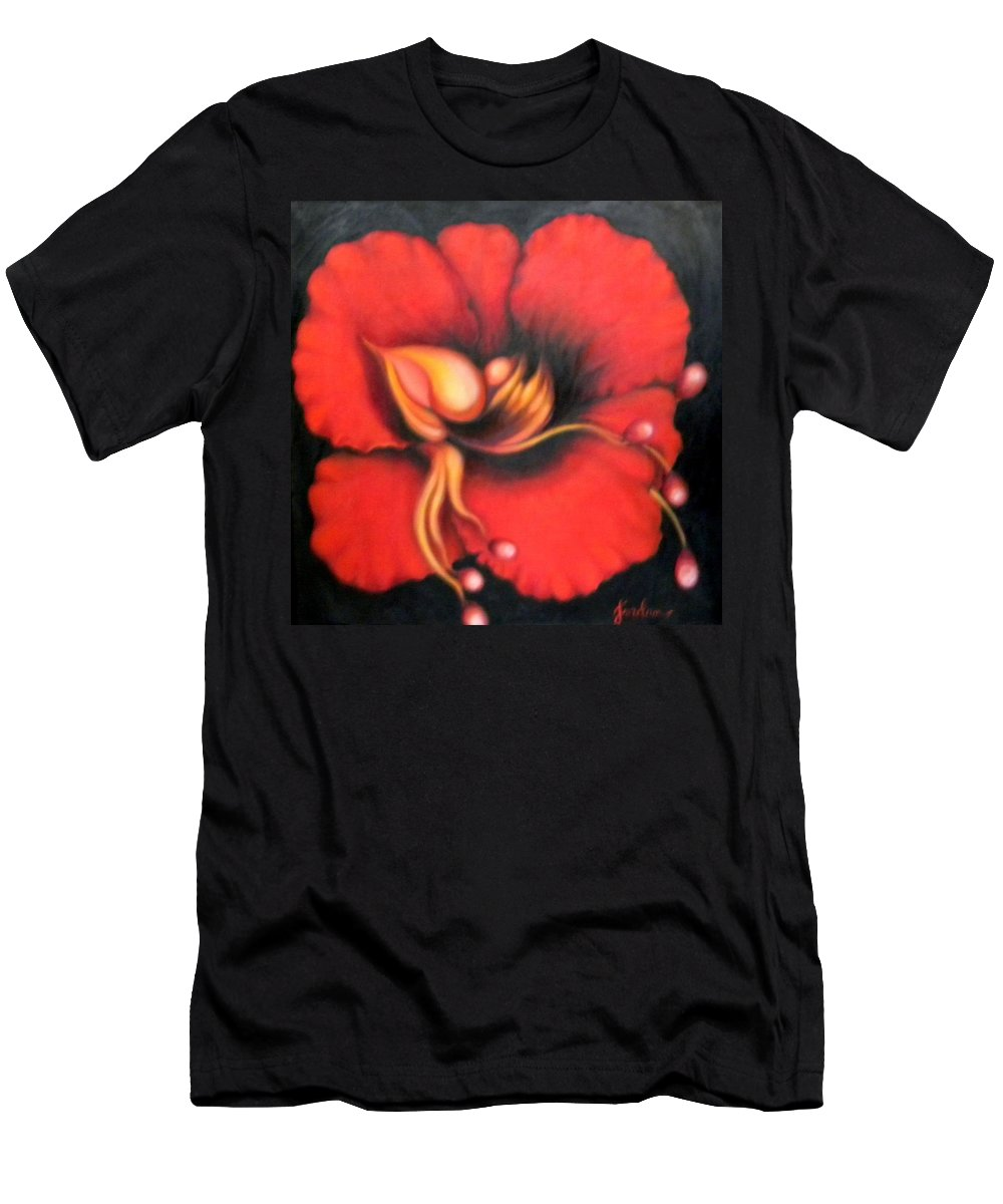 Red Surreal Bloom Artwork Men's T-Shirt (Athletic Fit) featuring the painting Passion Flower by Jordana Sands