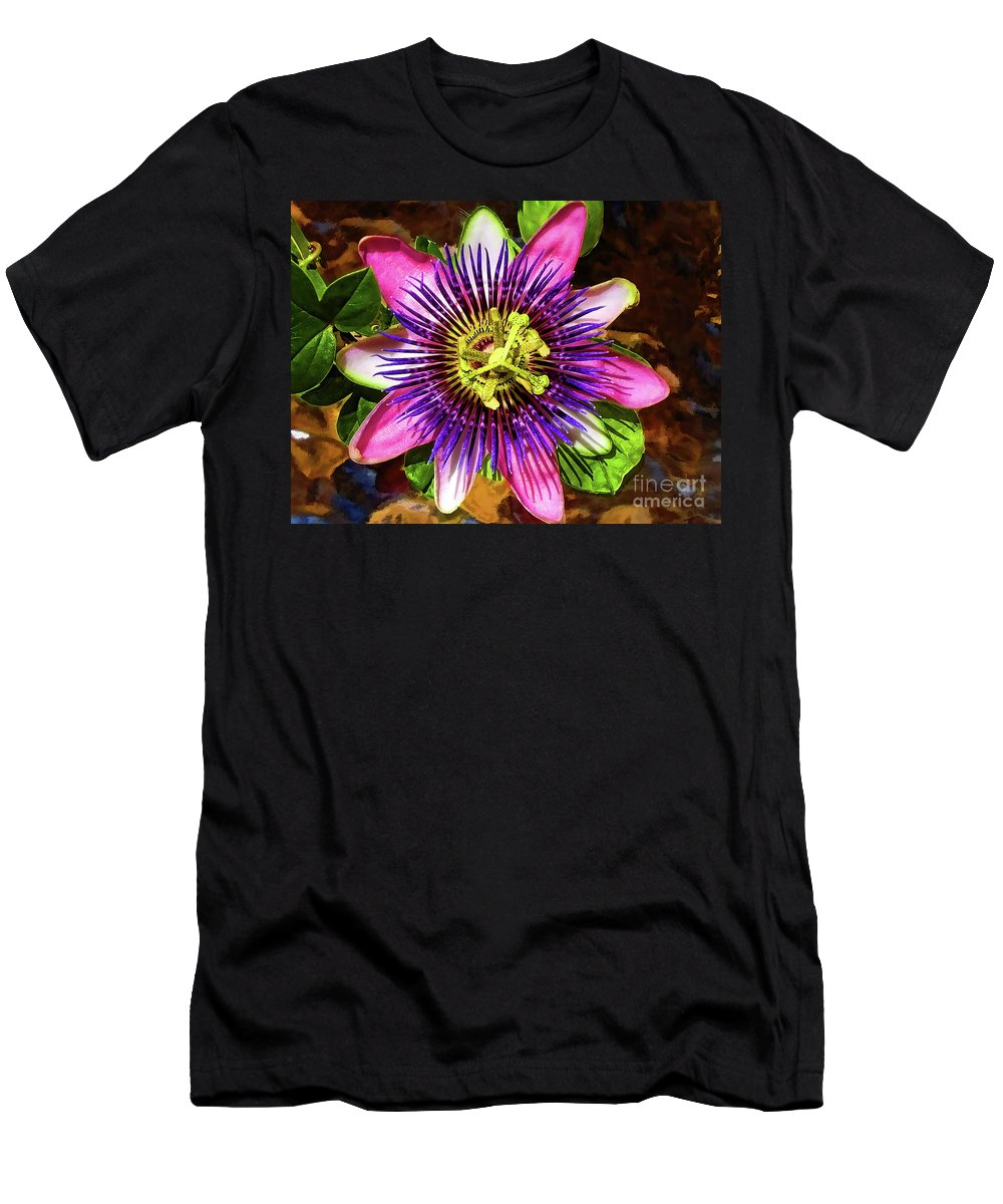 Unusual Lavender Flower Men's T-Shirt (Athletic Fit) featuring the photograph Passion Flower by Mariola Bitner