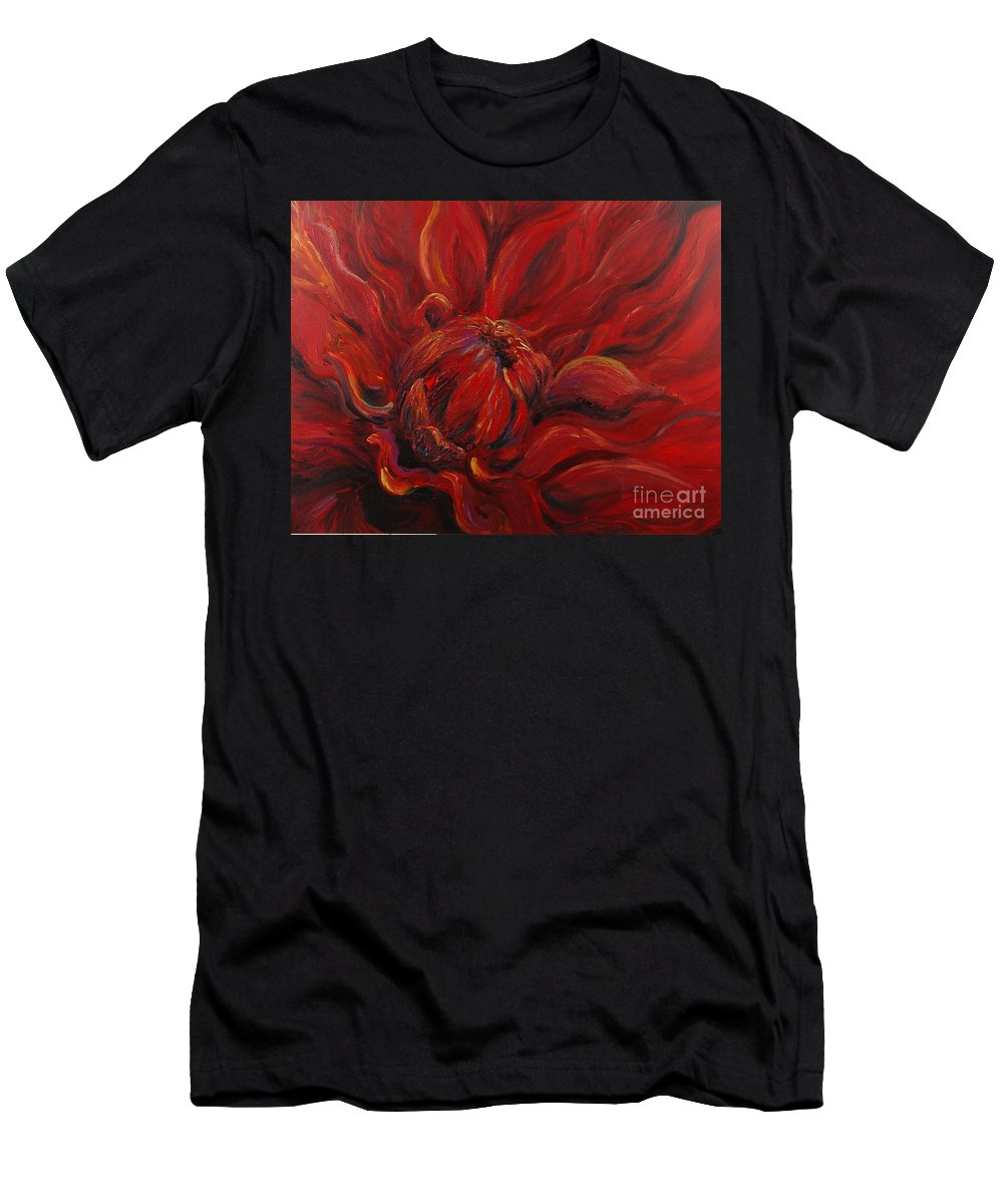 Red Men's T-Shirt (Athletic Fit) featuring the painting Passion II by Nadine Rippelmeyer