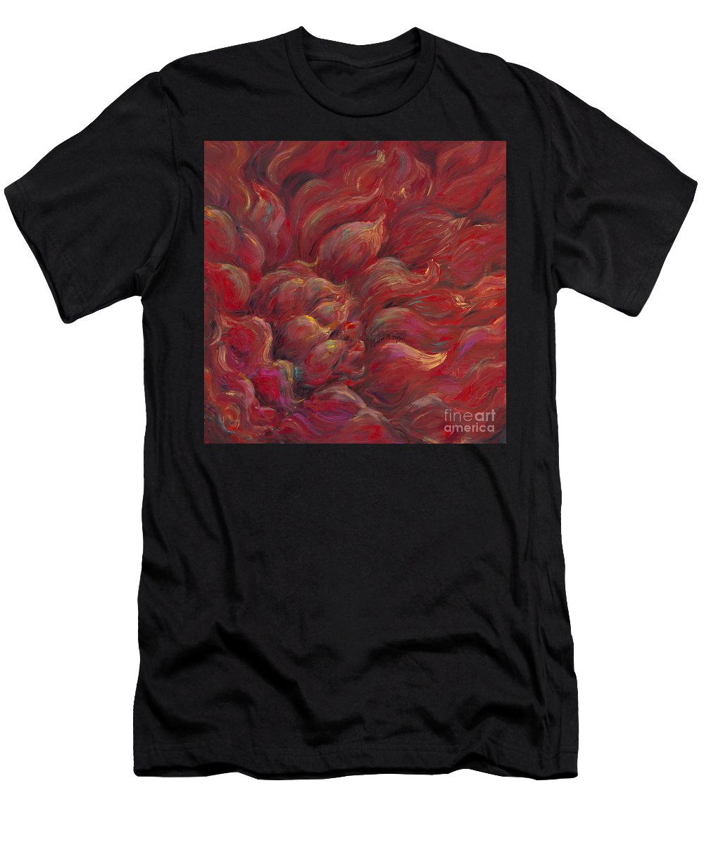 Red Men's T-Shirt (Athletic Fit) featuring the painting Passion V by Nadine Rippelmeyer
