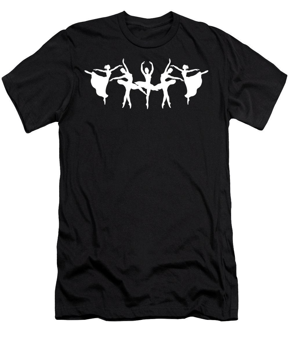 Passionate Dance Men's T-Shirt (Athletic Fit) featuring the painting Passionate Dance Ballerinas Silhouettes In White by Irina Sztukowski