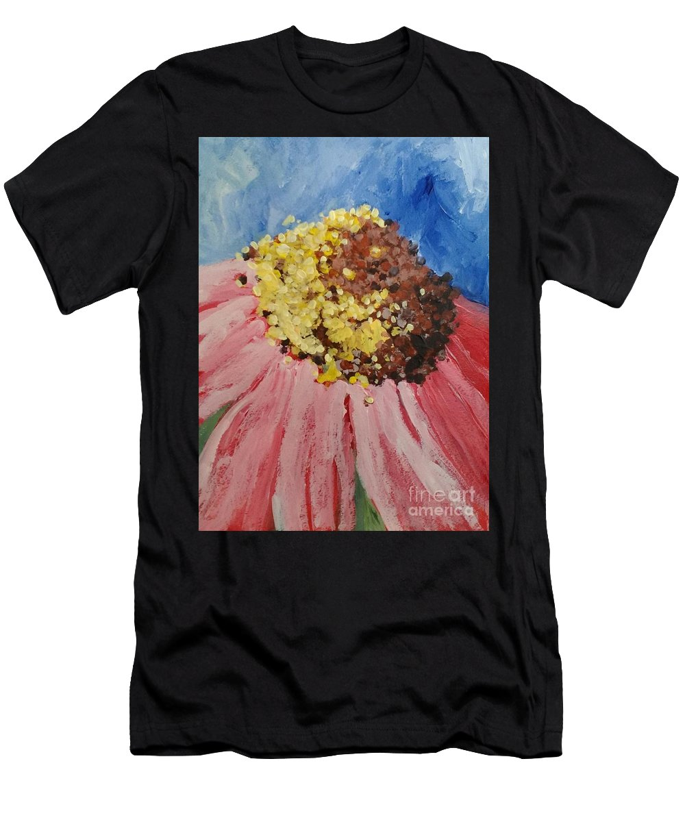 Daisies. Floral. Abstract. Pink Men's T-Shirt (Athletic Fit) featuring the painting Passionate One by Sherry Harradence