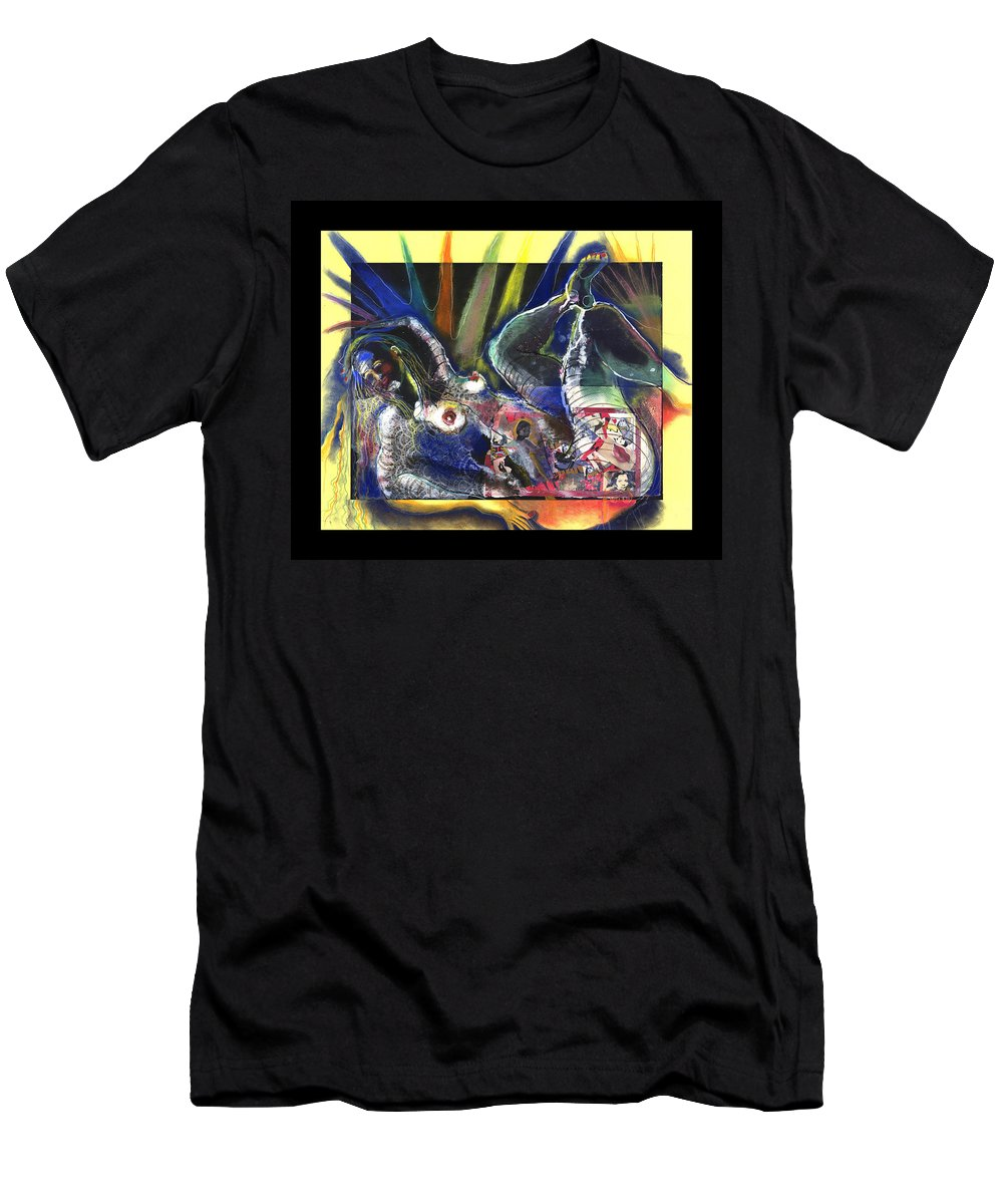 Mixed Media Men's T-Shirt (Athletic Fit) featuring the drawing Past And Present by Gideon Cohn
