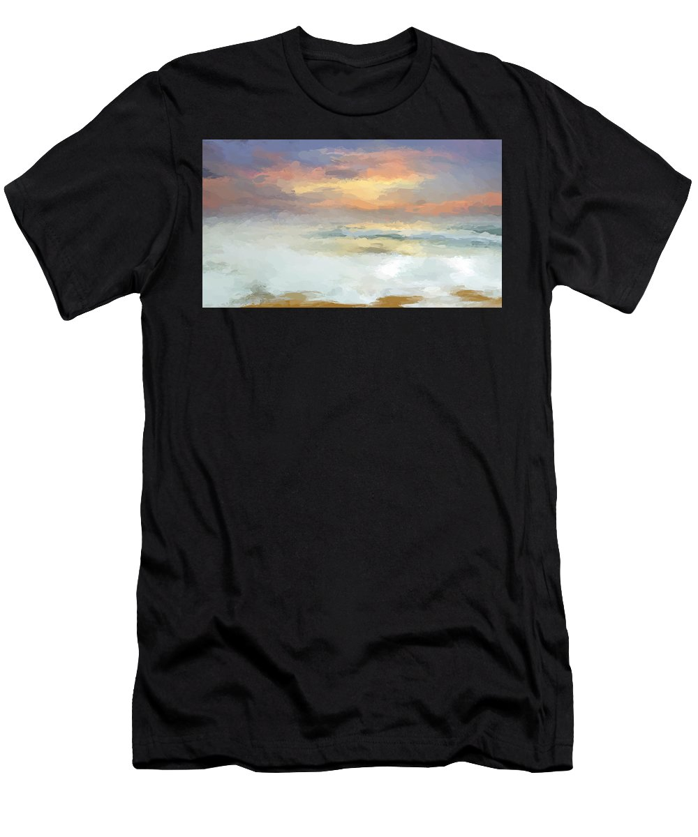Anthony Fishburne Men's T-Shirt (Athletic Fit) featuring the mixed media Pastel Beach Mornning by Anthony Fishburne