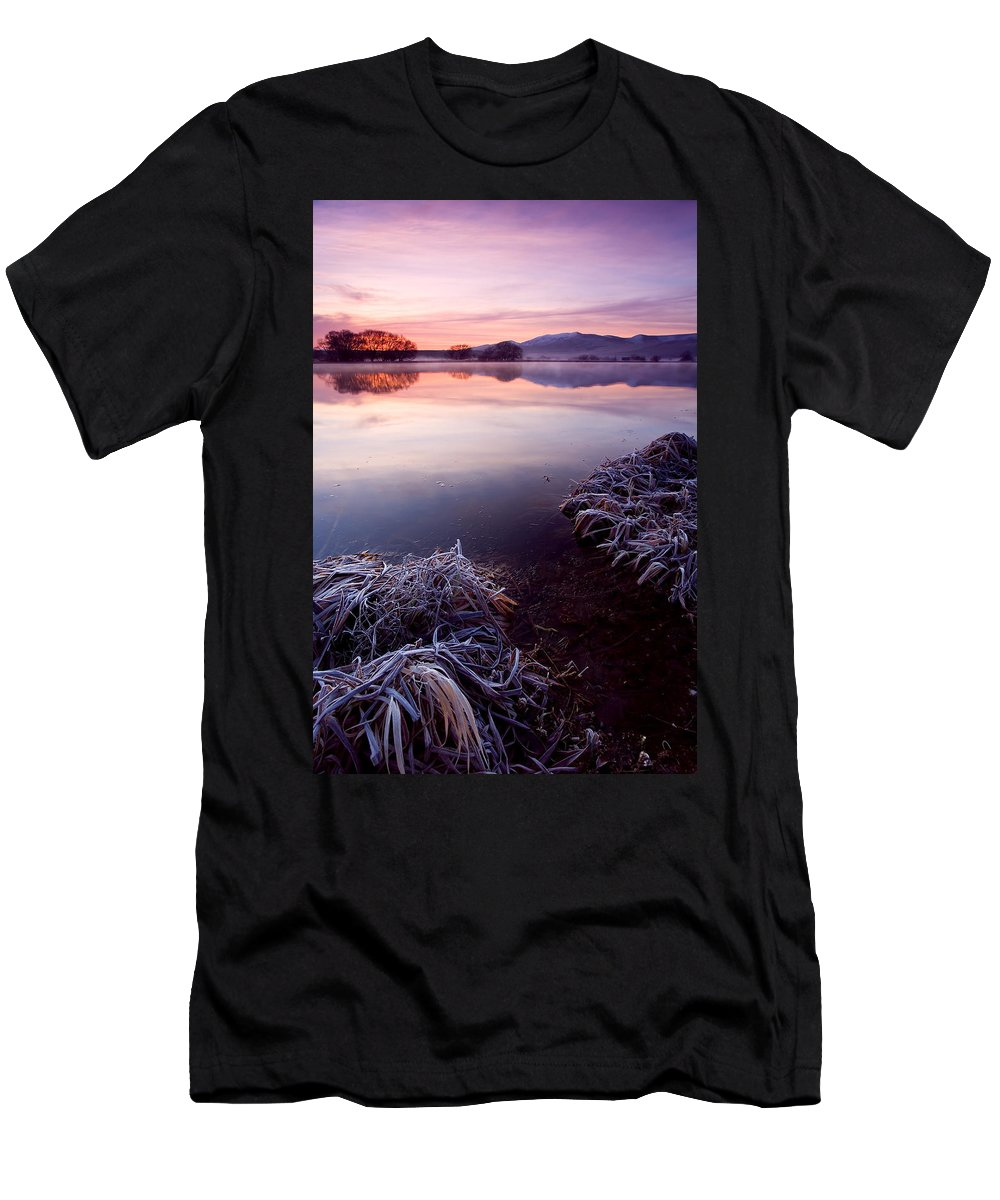 Lake Men's T-Shirt (Athletic Fit) featuring the photograph Pastel Dawn by Mike Dawson