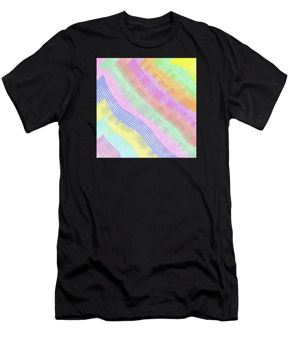 Unique Men's T-Shirt (Athletic Fit) featuring the digital art Pastel Stripes Angled by Susan Stevenson