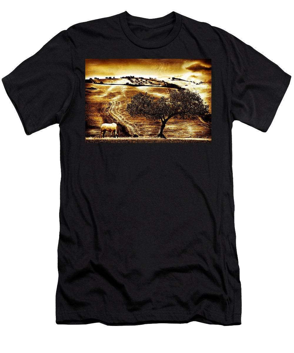 Landscape Men's T-Shirt (Athletic Fit) featuring the photograph Pastelero Textures by Mal Bray