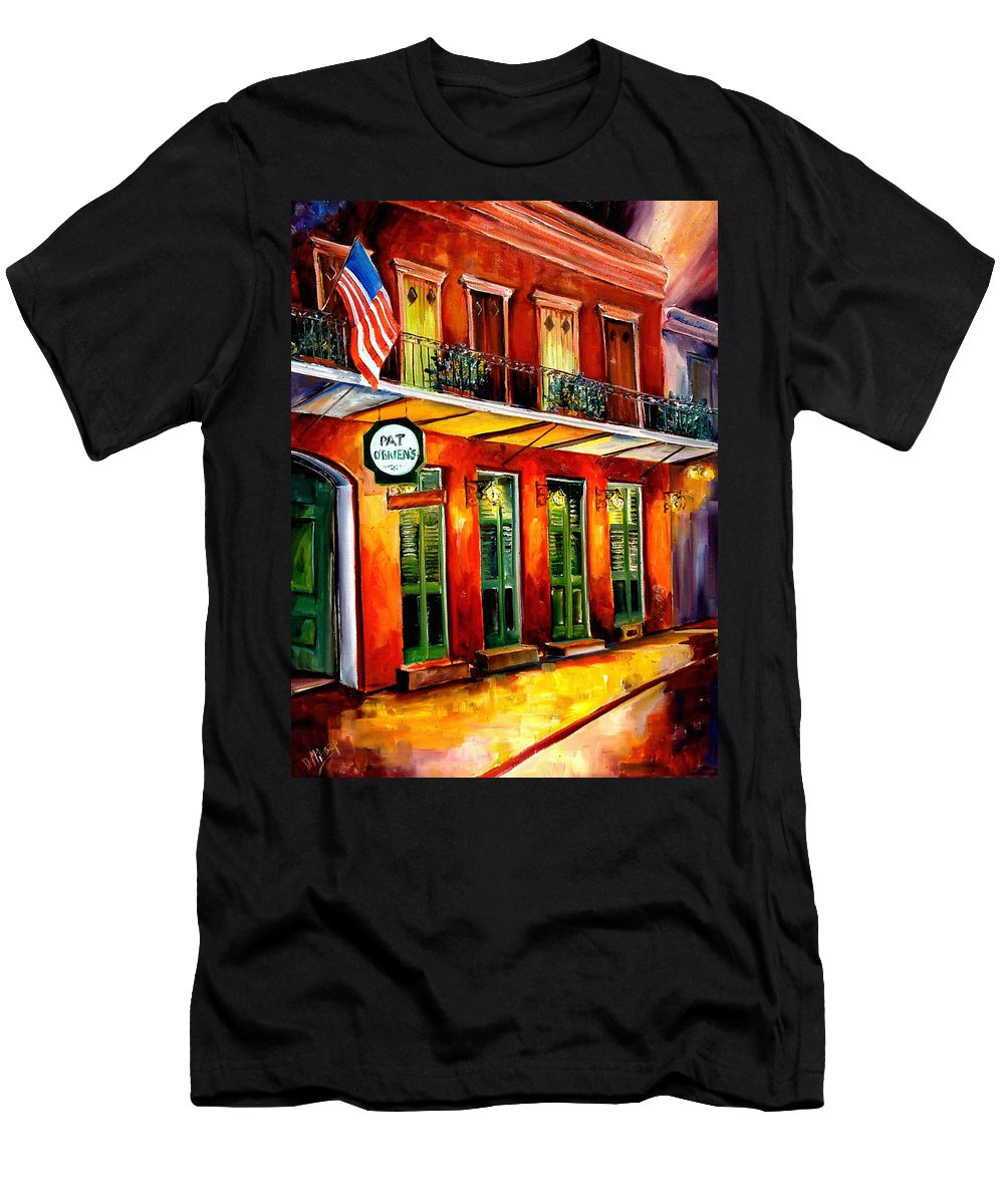 New Orleans Paintings Men's T-Shirt (Athletic Fit) featuring the painting Pat O Briens Bar by Diane Millsap