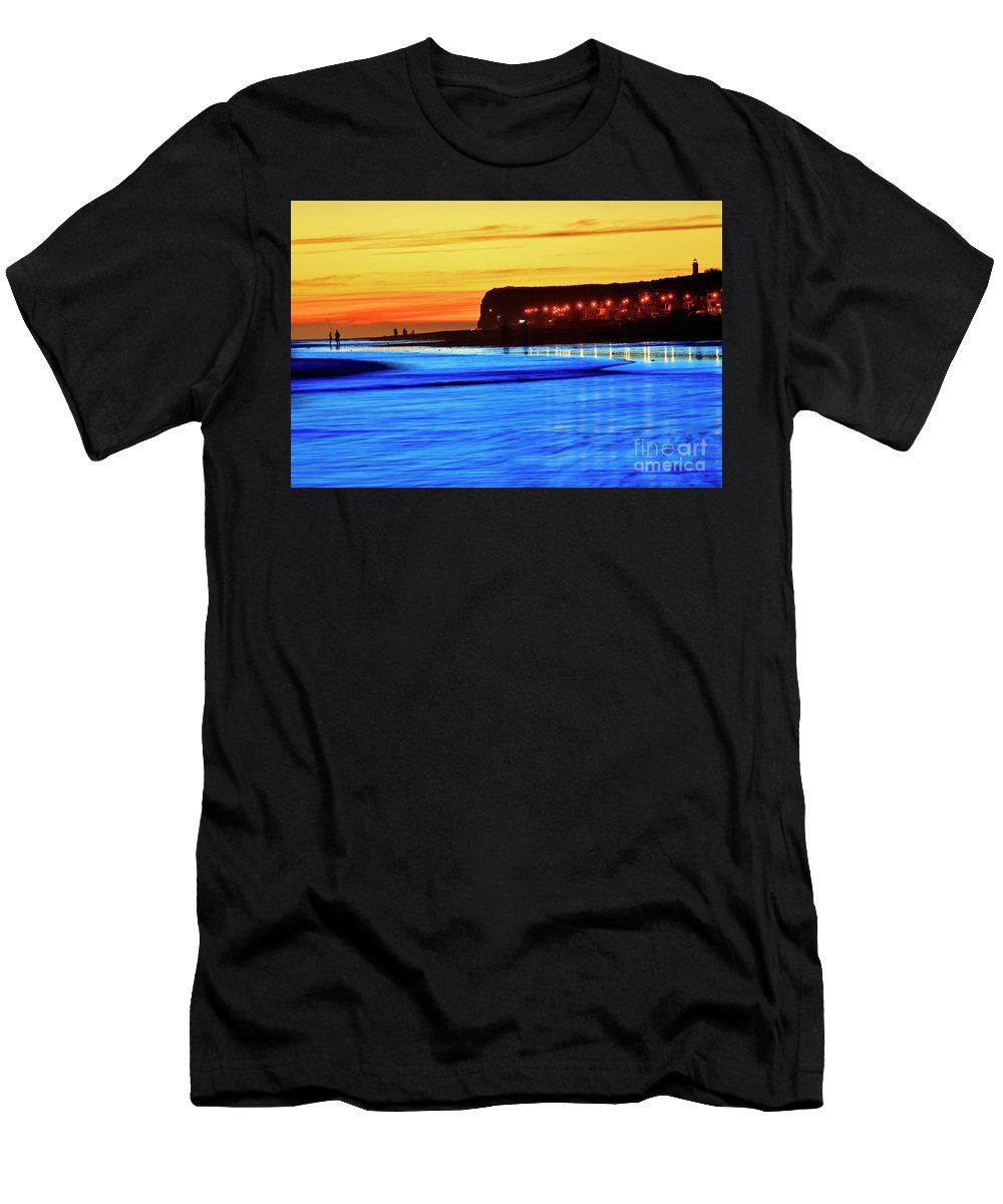Rio Negro Men's T-Shirt (Athletic Fit) featuring the photograph Patagonia Beach. by Bernardo Galmarini