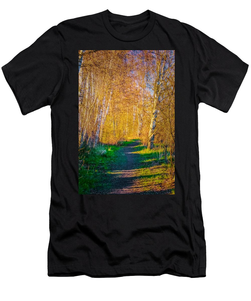 Path Men's T-Shirt (Athletic Fit) featuring the photograph Path April 2016 by Leif Sohlman