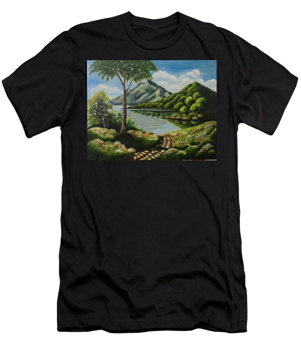 18 * 14 Landscape Men's T-Shirt (Athletic Fit) featuring the painting Path To Serenity by Monisha Singhal