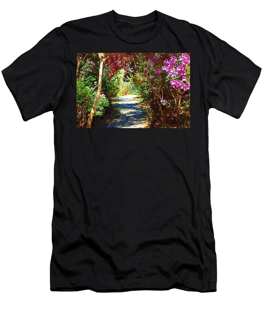 Landscape Men's T-Shirt (Athletic Fit) featuring the digital art Path To The Gardens by Donna Bentley