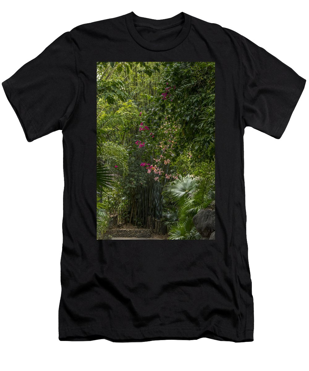 Trees Men's T-Shirt (Athletic Fit) featuring the photograph Path With Flowers by Tito Santiago