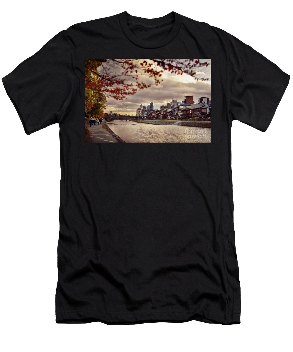 Kamo Men's T-Shirt (Athletic Fit) featuring the photograph Pathway Along Kamo River In A Beautiful Dramatic Autumn Sunset S by Awen Fine Art Prints