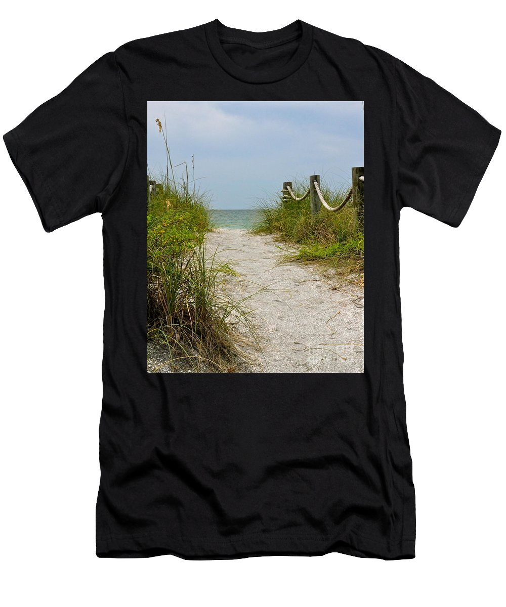 Beach Men's T-Shirt (Athletic Fit) featuring the photograph Pathway To The Beach by Carol Bradley