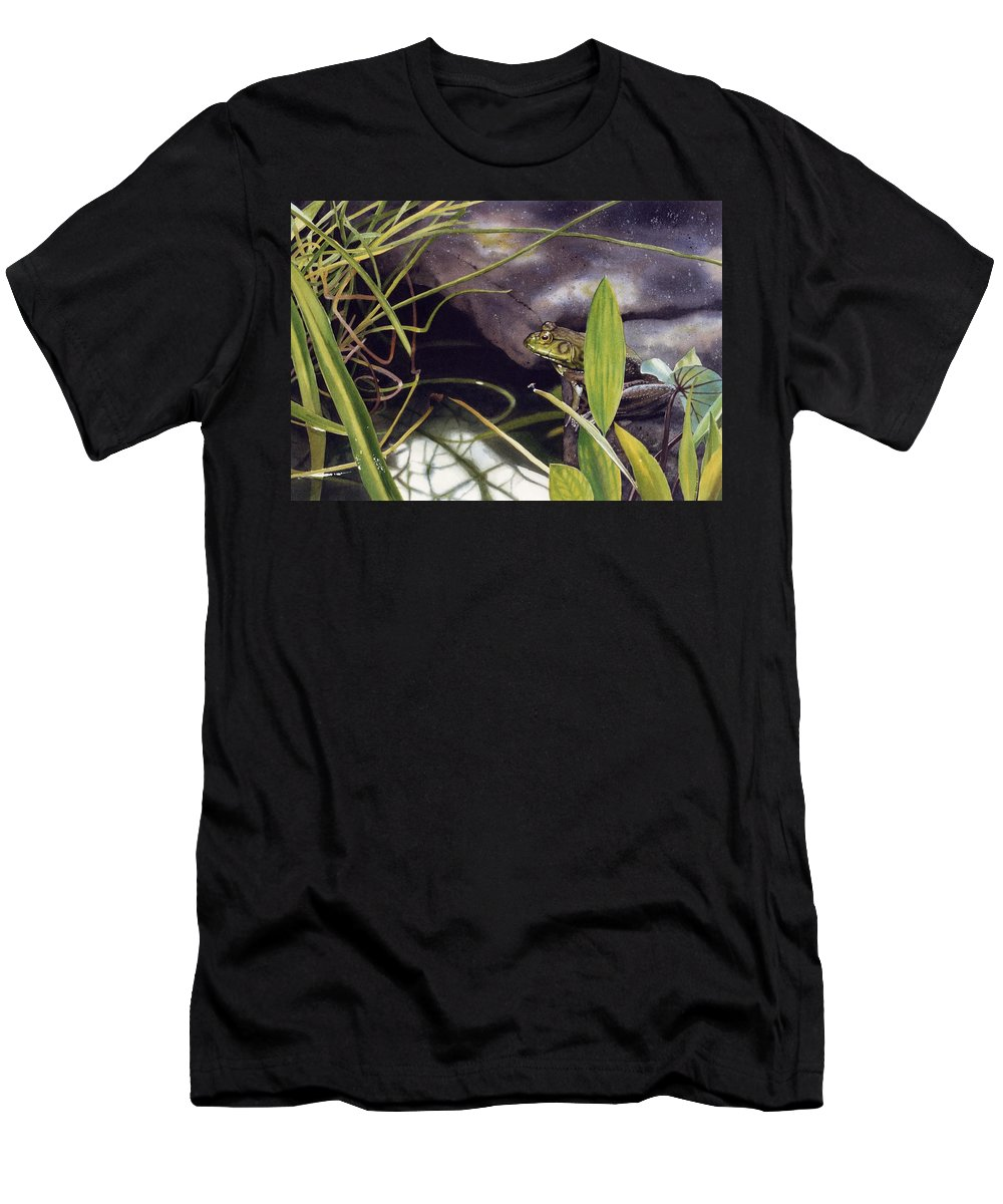 Frog Men's T-Shirt (Athletic Fit) featuring the painting Patience by Denny Bond