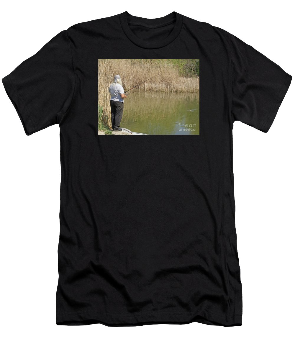 Fishing Men's T-Shirt (Athletic Fit) featuring the photograph Patience Required by Ann Horn