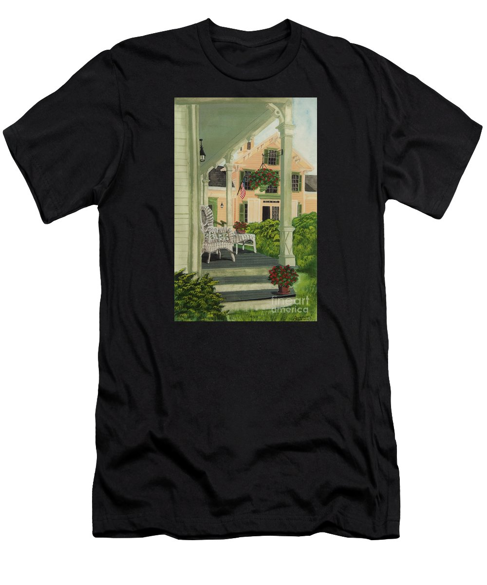 Side Porch Men's T-Shirt (Athletic Fit) featuring the painting Patriotic Country Porch by Charlotte Blanchard