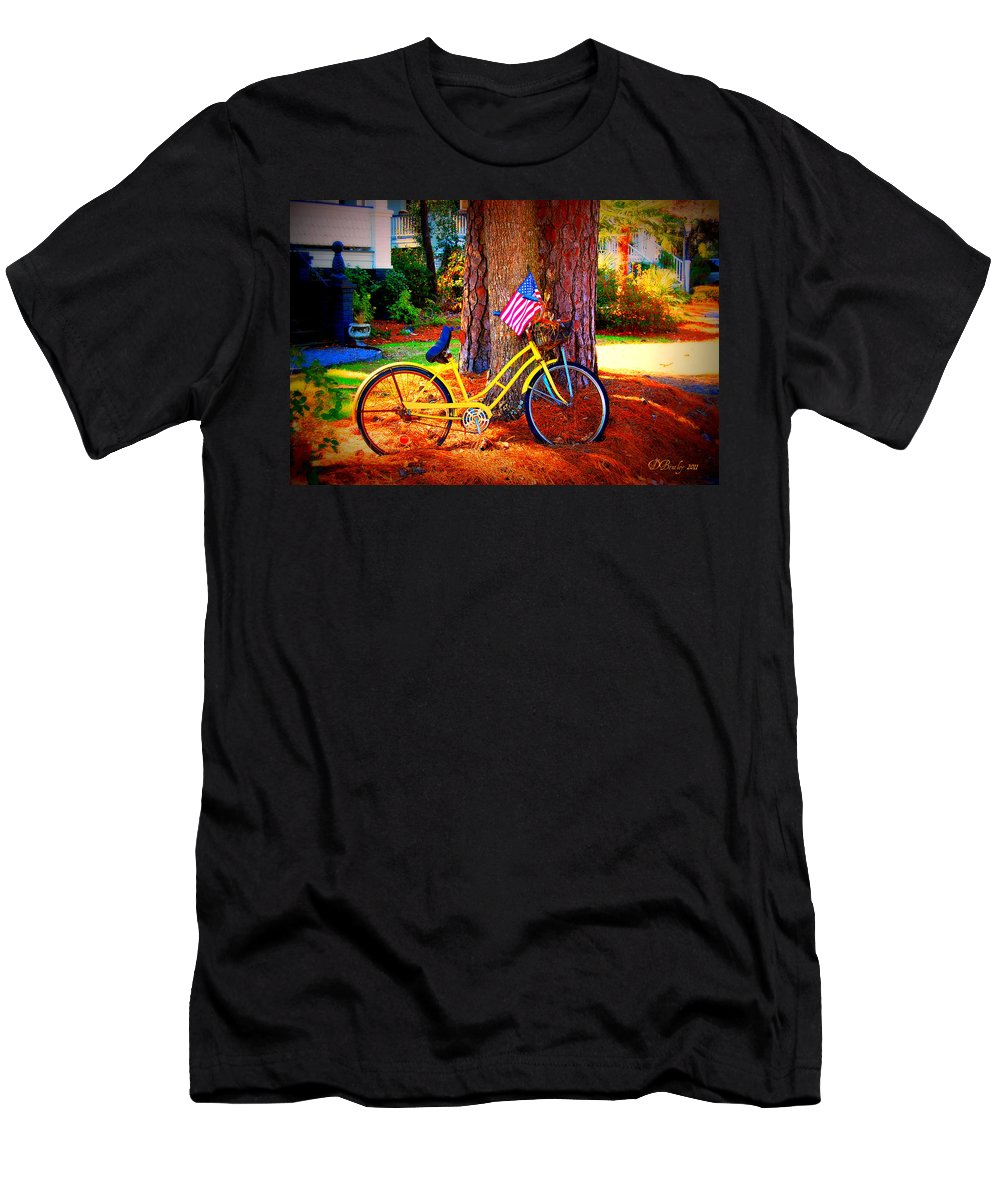 Bike Men's T-Shirt (Athletic Fit) featuring the photograph Patriotic Ride by Donna Bentley