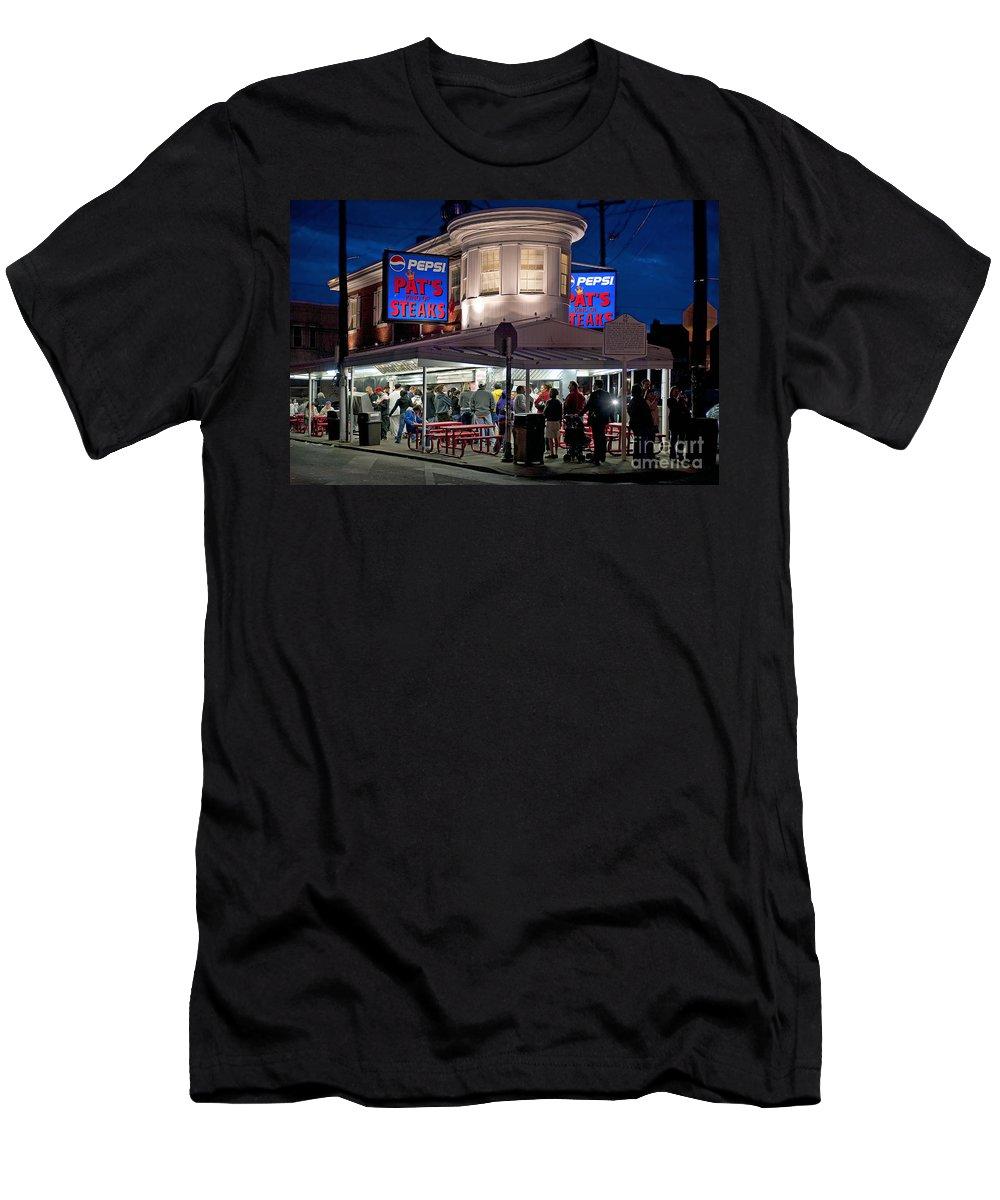 Philadelphia Men's T-Shirt (Athletic Fit) featuring the photograph Pat's Steaks by John Greim