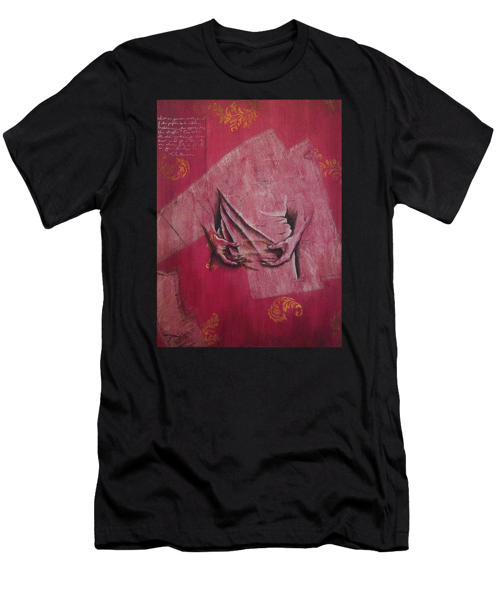 Hands Men's T-Shirt (Athletic Fit) featuring the painting Pattern Pieces by Rowena Finn