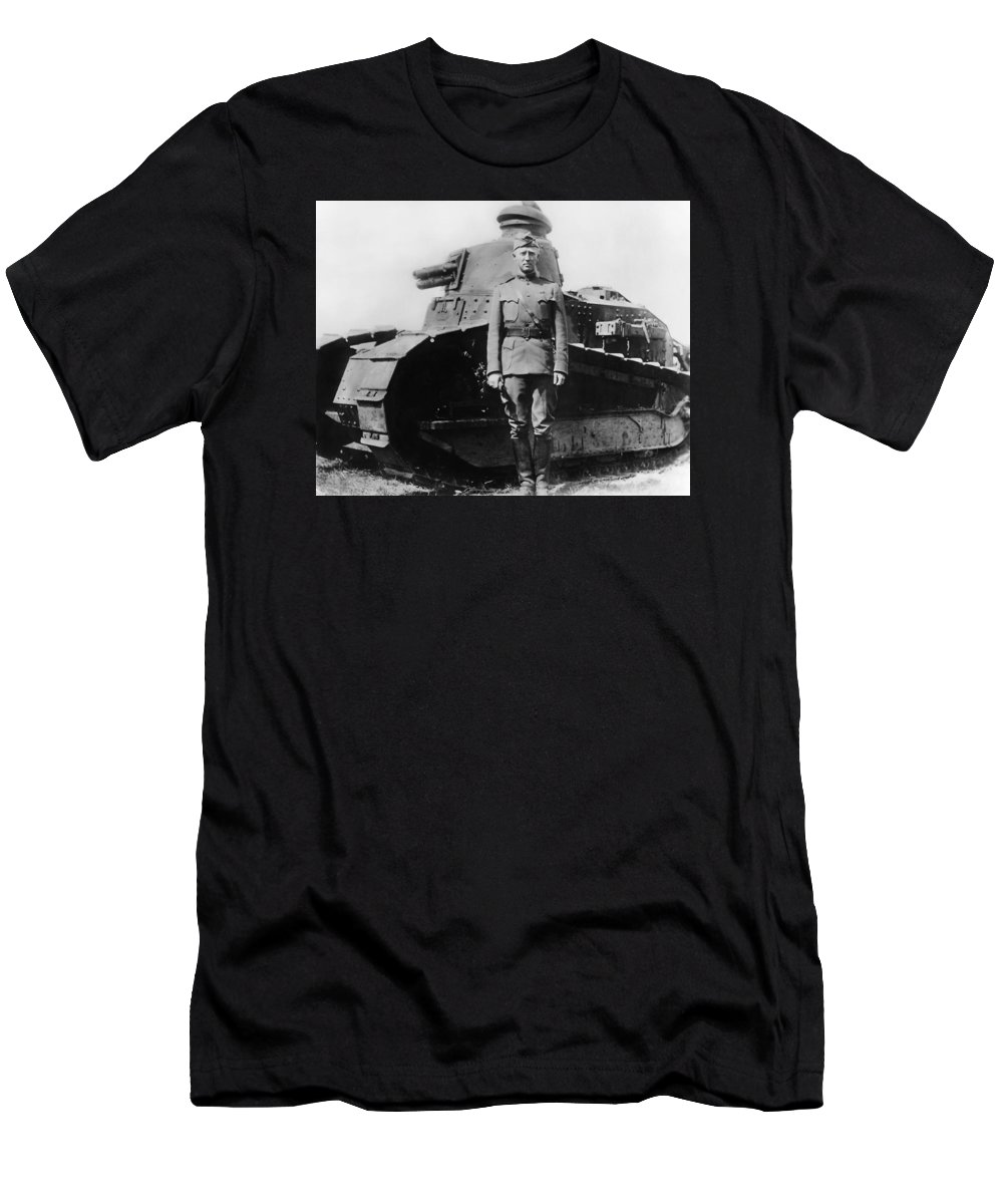 George Patton T-Shirt featuring the photograph Patton Beside a Renault Tank - WWI by War Is Hell Store