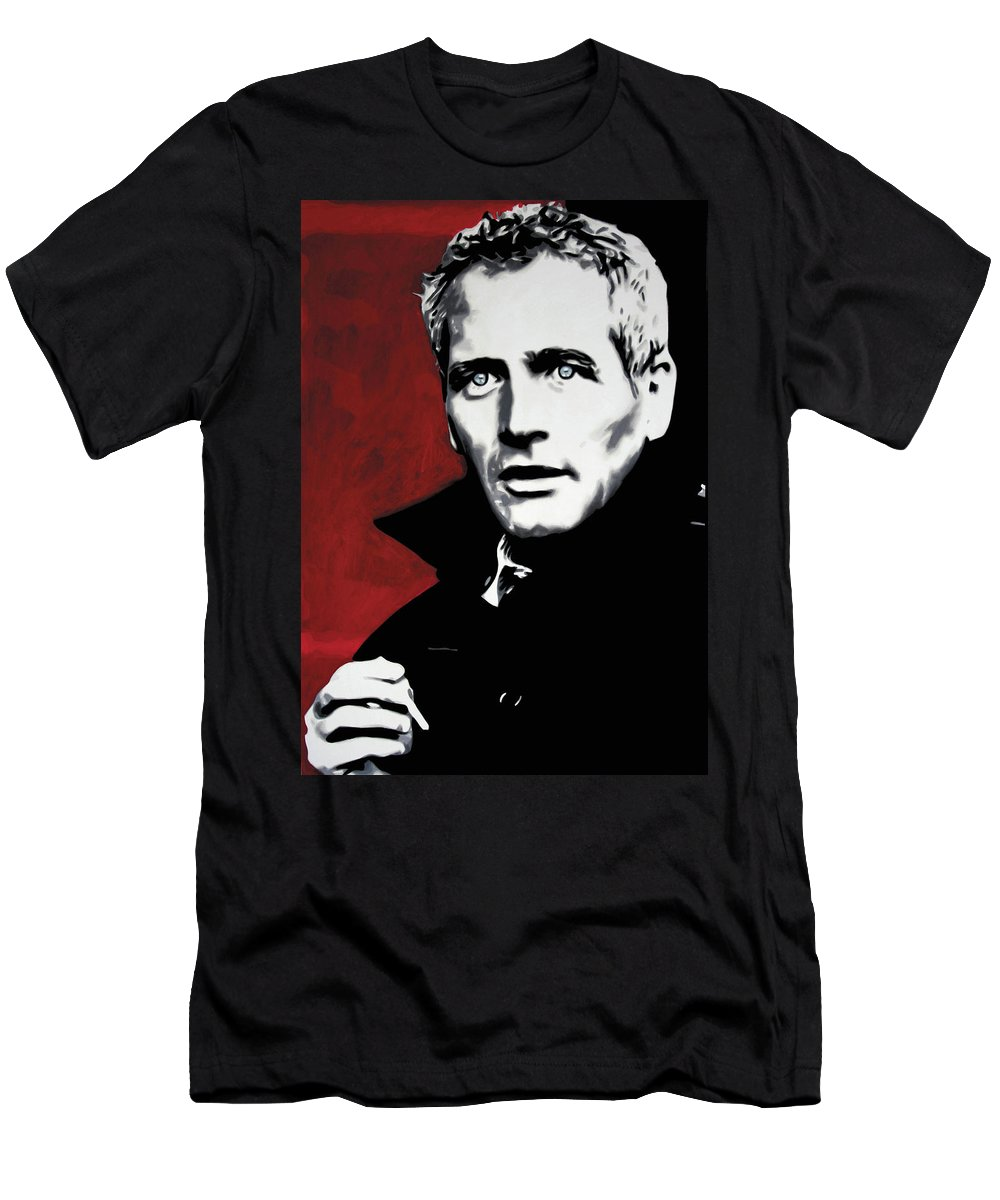 Paul Newman Men's T-Shirt (Athletic Fit) featuring the painting Paul Newman by Luis Ludzska