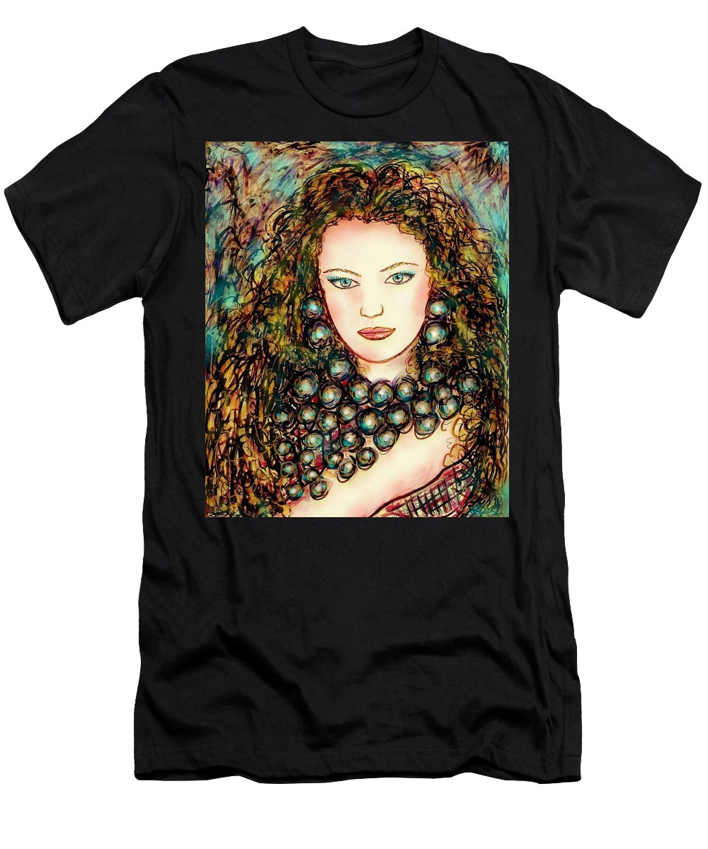 Woman Men's T-Shirt (Athletic Fit) featuring the painting Paula by Natalie Holland