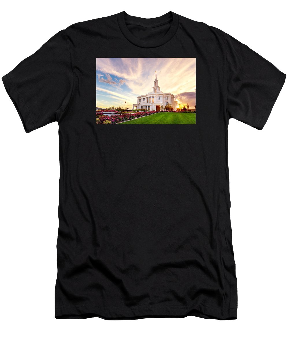Payson Utah Temple Men's T-Shirt (Athletic Fit) featuring the photograph Payson Utah Temple Dramatic View by Tausha Coates