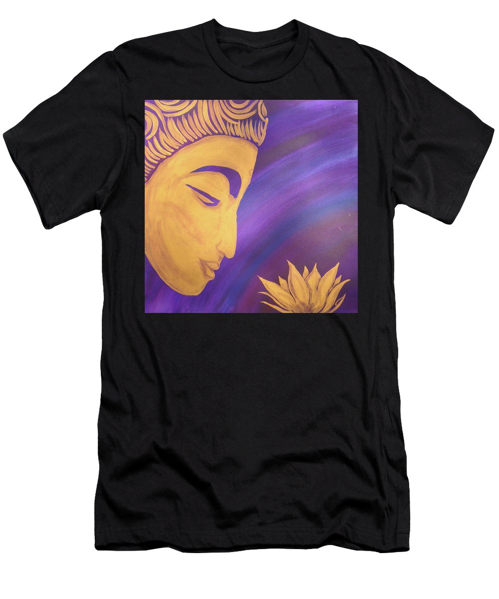 Buddha Men's T-Shirt (Athletic Fit) featuring the painting Peace Within Peace Without by Suni Moon