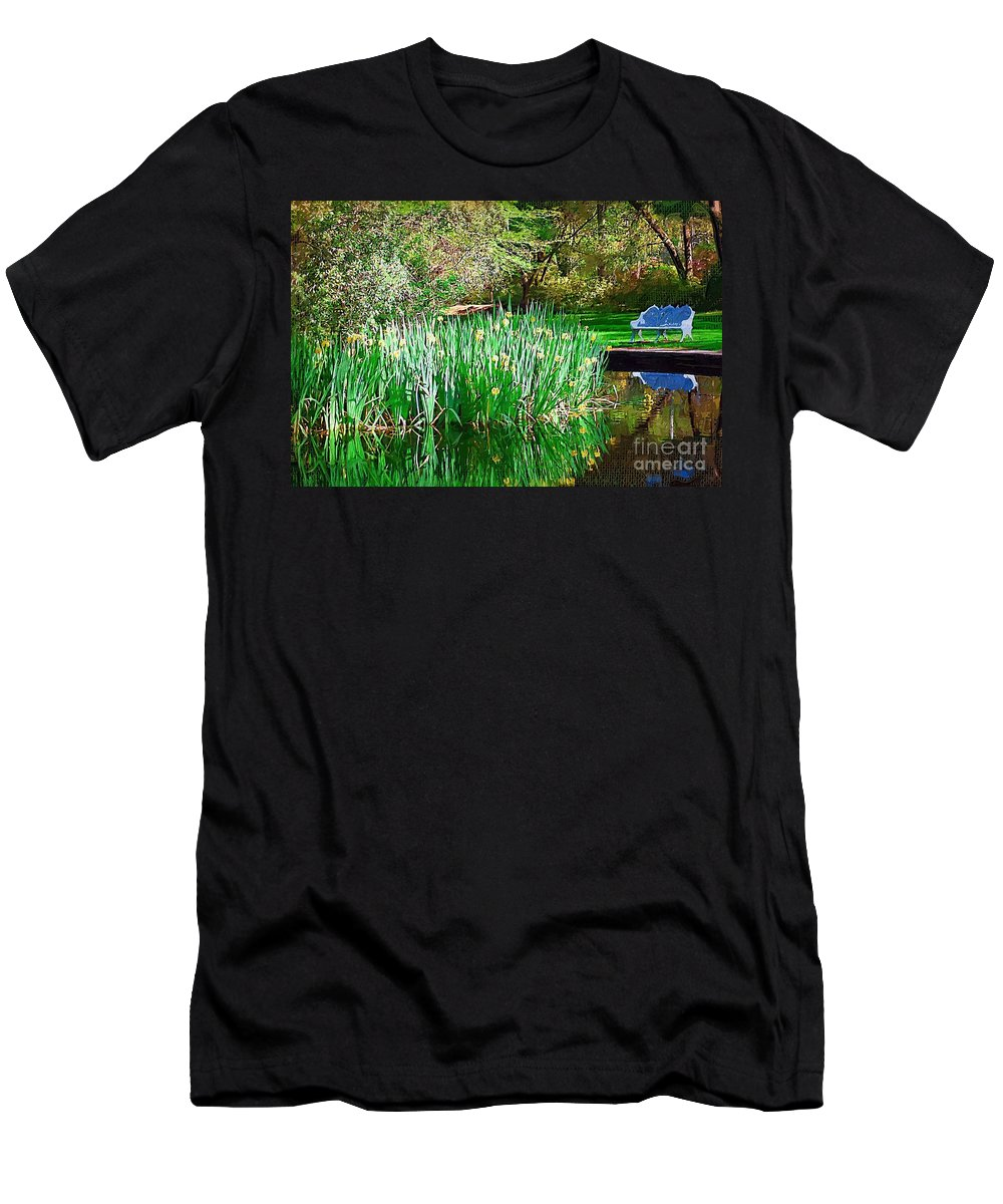 Pond Men's T-Shirt (Athletic Fit) featuring the photograph Peaceful by Donna Bentley