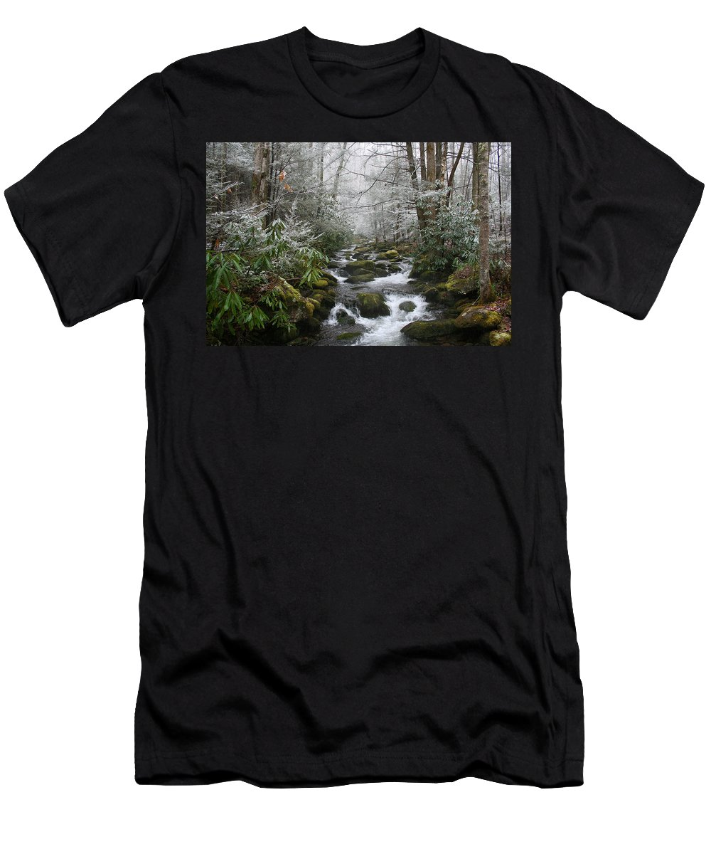 Forest Wood Woods Nature Green White Snow Winter Season Creek River Stream Flow Rock Tree Rush Men's T-Shirt (Athletic Fit) featuring the photograph Peaceful Flow by Andrei Shliakhau