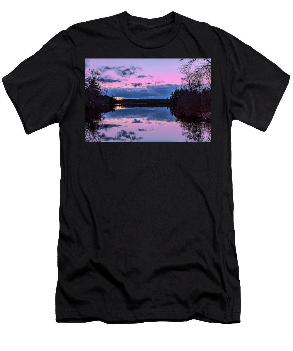 Townsend Ma Men's T-Shirt (Athletic Fit) featuring the photograph Peaceful Pond by Larry Richardson