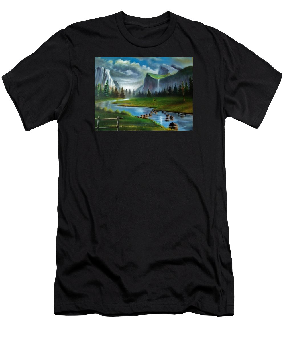 Landscape Men's T-Shirt (Athletic Fit) featuring the painting Peaceful Retreat by Scott Easom