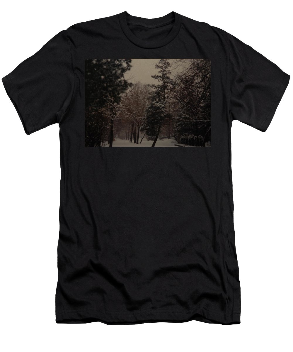 Lights Men's T-Shirt (Athletic Fit) featuring the photograph Peaceful Snow Dusk by Rob Hans
