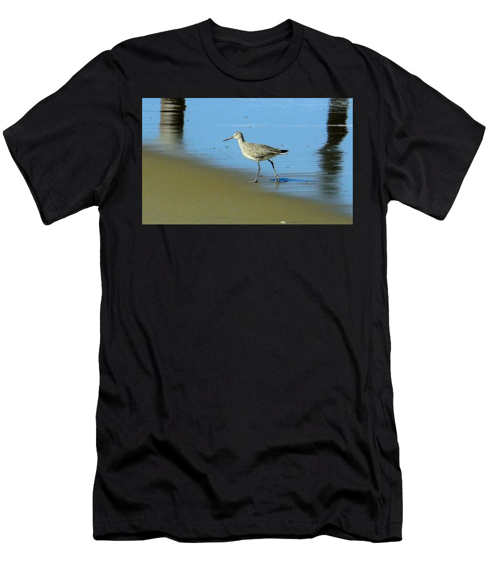 Bird Beach Sand Reflection Obx Outer Banks Pier Ocean Water Men's T-Shirt (Athletic Fit) featuring the photograph Peaceful Solitude 1 4/23 by Mark Lemmon
