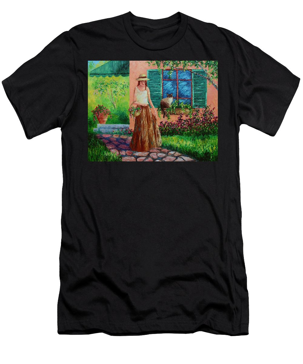 Woman Men's T-Shirt (Athletic Fit) featuring the painting Peaceful Thoughts by David G Paul