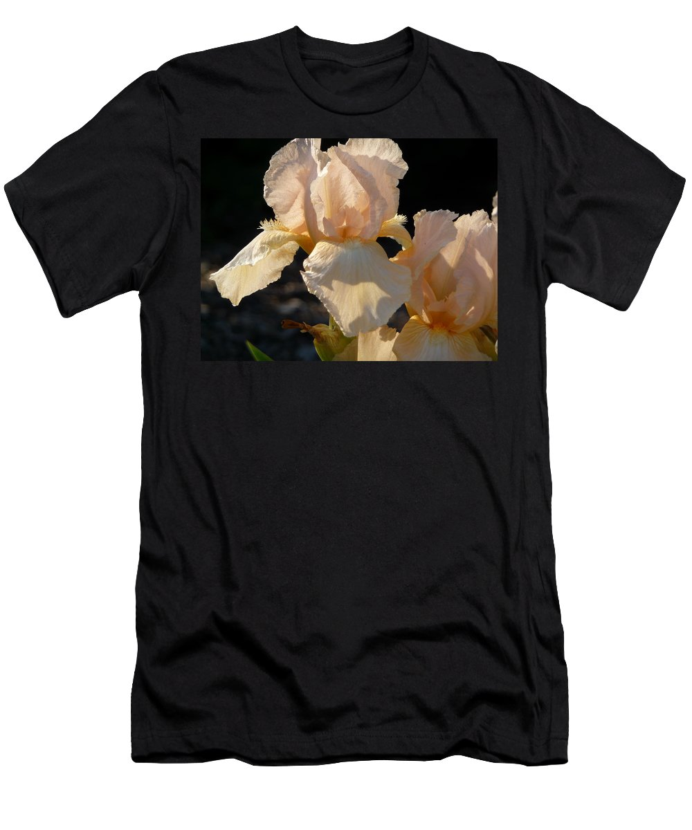 Flower. Iris Men's T-Shirt (Athletic Fit) featuring the photograph Peach Bearded Iris by Ruth Kamenev