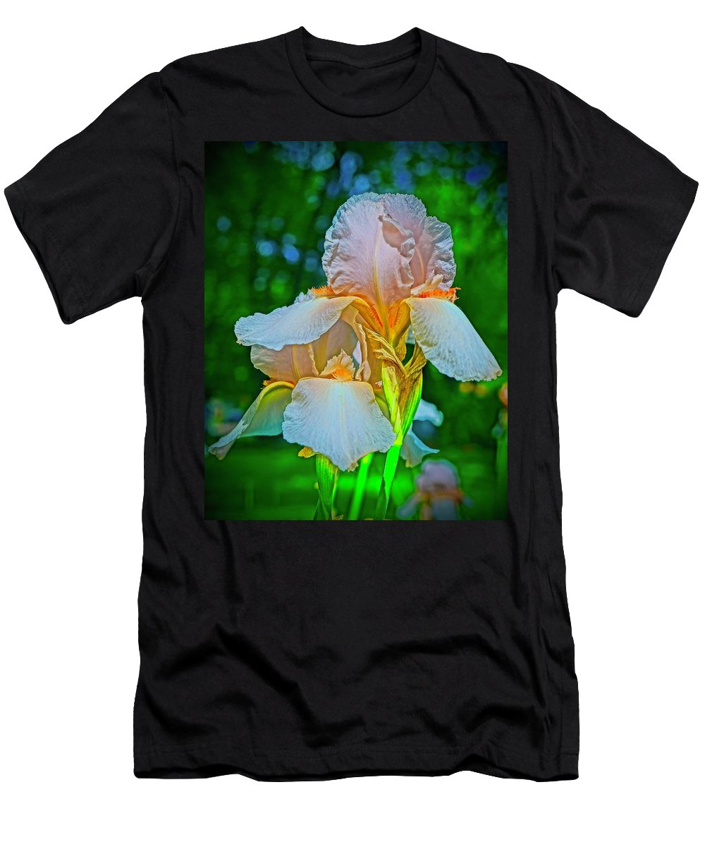 Peach Iris Men's T-Shirt (Athletic Fit) featuring the photograph Peach Curtsey by Tim G Ross