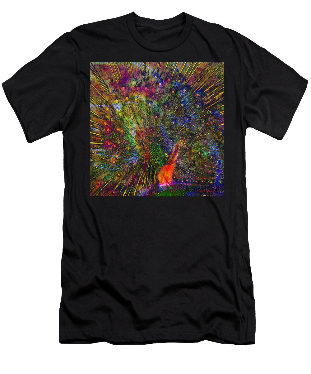 Peacock Men's T-Shirt (Athletic Fit) featuring the digital art Peacock by Barbara Berney
