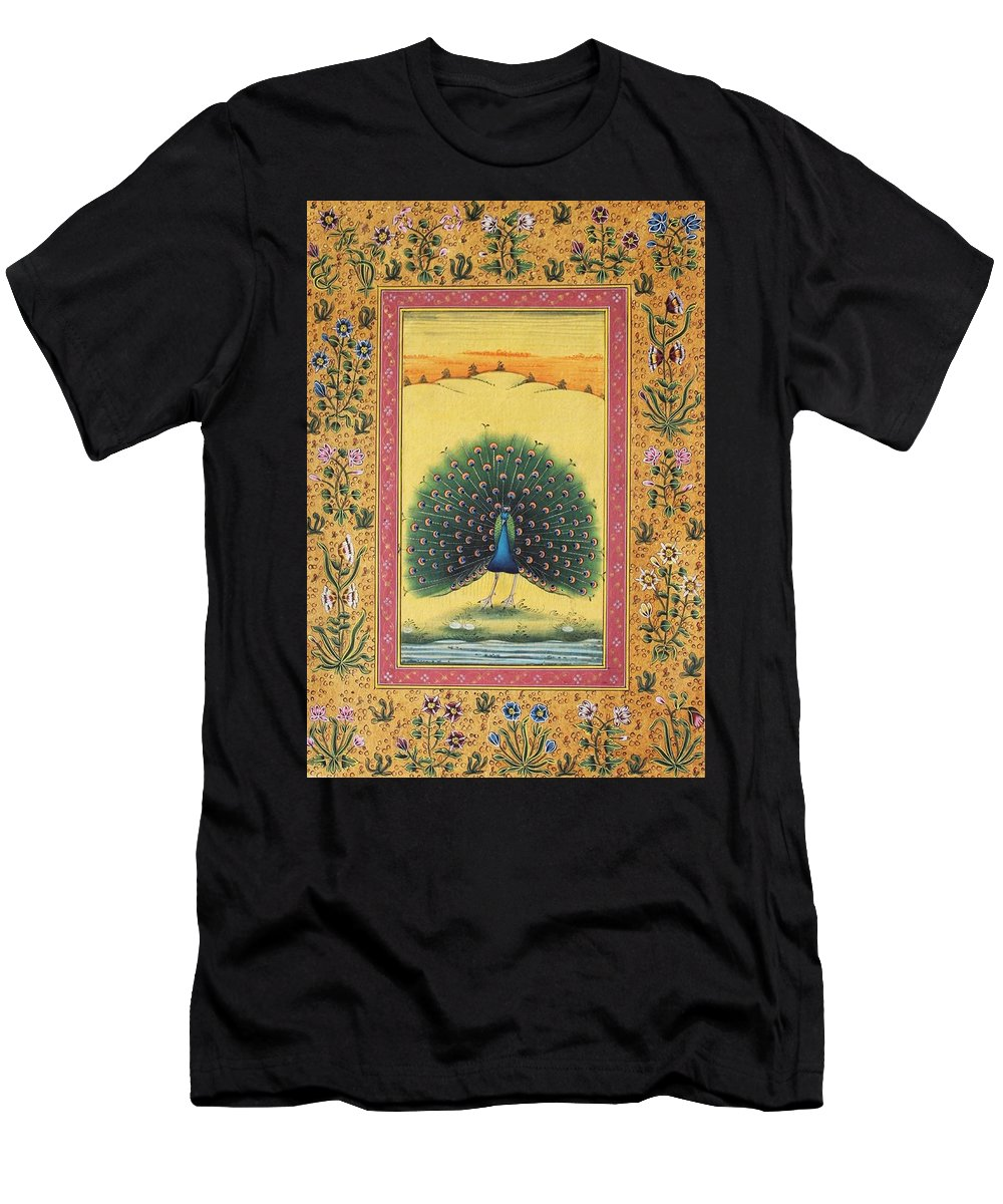 Peacock Dancing Painting Men's T-Shirt (Athletic Fit) featuring the painting Peacock Dancing Painting Flower Bird Tree Forest Indian Miniature Painting Watercolor Artwork by Bhanu Sharma