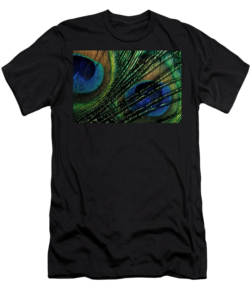 Peacock Men's T-Shirt (Athletic Fit) featuring the photograph Peacock Eyes by Jerry McElroy