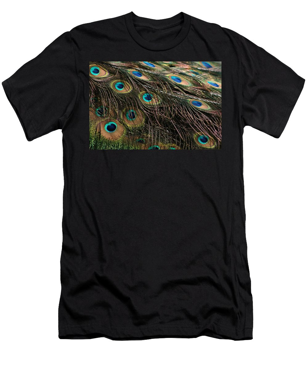 Peacock Men's T-Shirt (Athletic Fit) featuring the photograph Peacock Feathers by Tina Meador